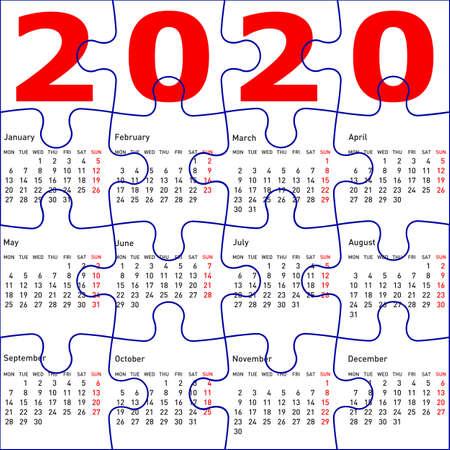 Illustration pour Calendar for 2020, jigsaw puzzle texture background. - image libre de droit