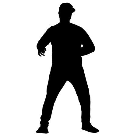 Illustration for Black silhouette man standing, people on white background. - Royalty Free Image