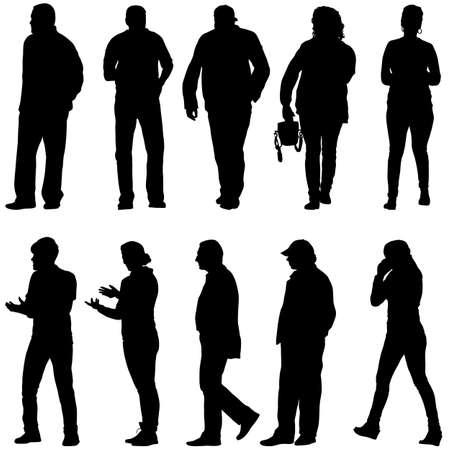 Illustration for Silhouette Group of People Standing on White Background. - Royalty Free Image