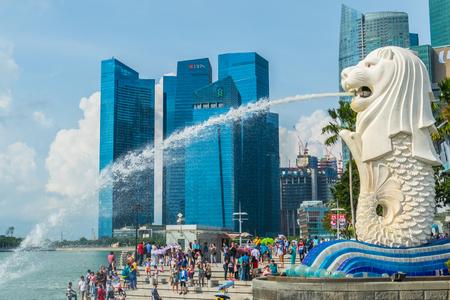 Photo for Singapore City, Singapore - 07 19 2015: Merlion statue, the national symbol of Singapore - Royalty Free Image