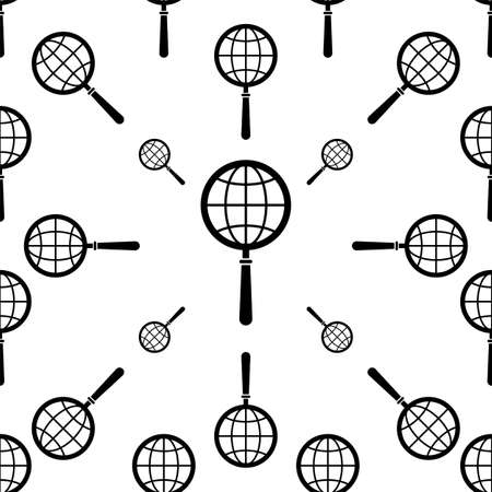 Global Search Icon Seamless Pattern Vector Art Illustration