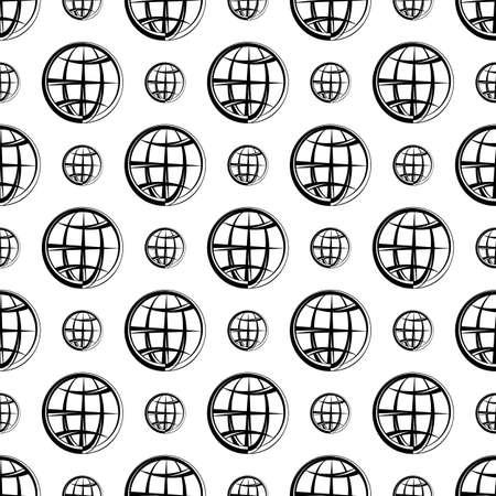 Illustration for Globe Icon Seamless Pattern Vector Art Illustration - Royalty Free Image