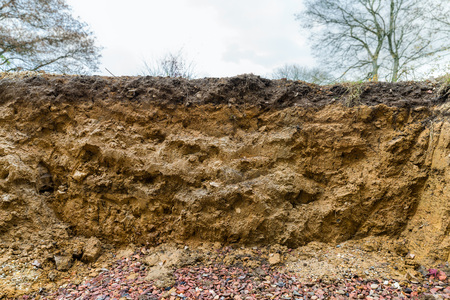 Photo pour Cross section of excavation showing layers in soil with different horizons  - image libre de droit