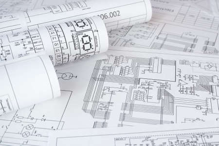 Photo for rolls of paper electrical engineering drawings - Royalty Free Image