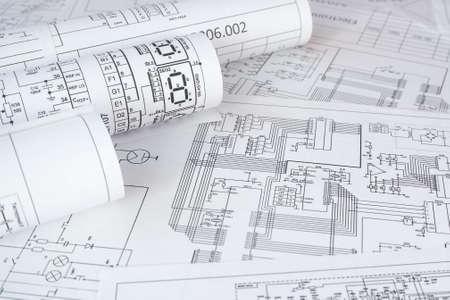 Foto de rolls of paper electrical engineering drawings - Imagen libre de derechos