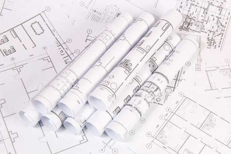 Photo for Architectural plan. Engineering house drawings and blueprints. - Royalty Free Image