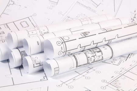 Foto de Architectural plan. Engineering house drawings and blueprints. - Imagen libre de derechos