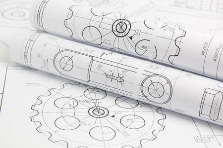 Photo pour rolls paper engineering drawings of mechanisms and machine - image libre de droit