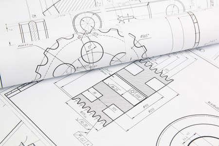 Foto de paper engineering drawings of industrial parts and mechanisms - Imagen libre de derechos