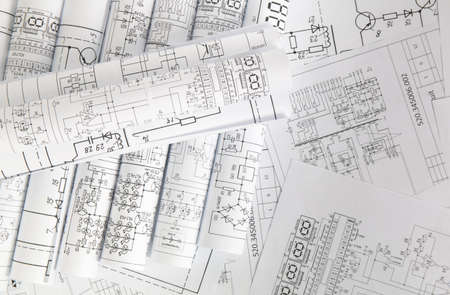 Photo pour Electronics and Engineering. Printed drawings of electrical circuits. - image libre de droit