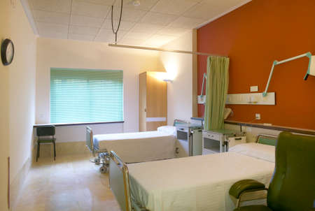 Hospital room with beds and furniture  Horizontal