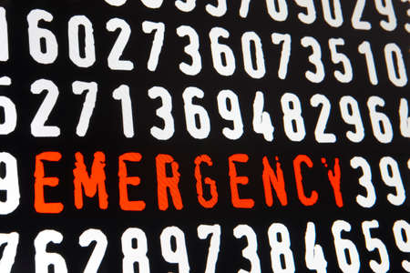 Computer screen with emergency text on black background. Horizontal