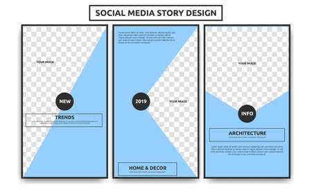 Ilustración de Editable Social media story frame template. Creative simple soft light blue architechture interior article social media story theme - Imagen libre de derechos