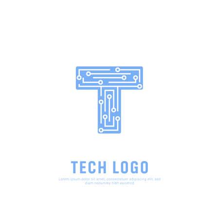 Ilustración de Future Tech logo symbol. Letter T technology icon symbol logo - Imagen libre de derechos