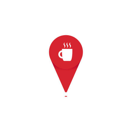 Cafe coffee shop pin poin icon logo for map location vector