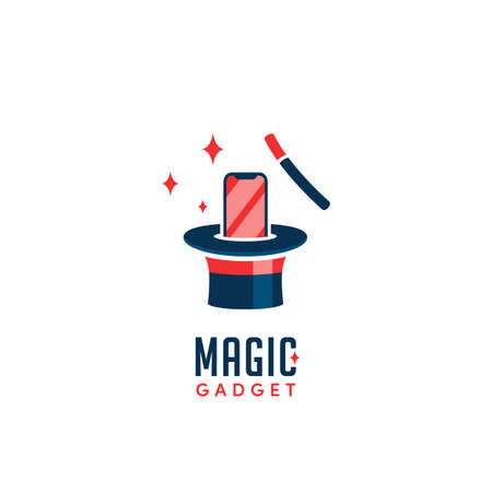 Magic gadget logo with phone pop up from magician hat after knocked with magic stick trick icon logo vector design
