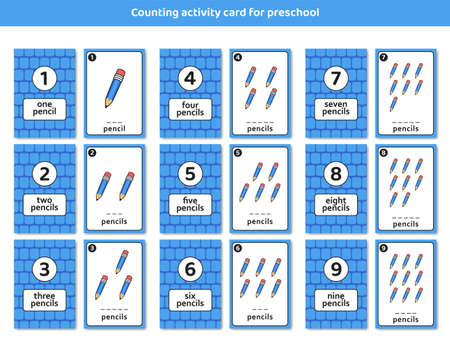 Illustration for preschool counting activity card with cute pencil illustration set for kid children learning education - Royalty Free Image