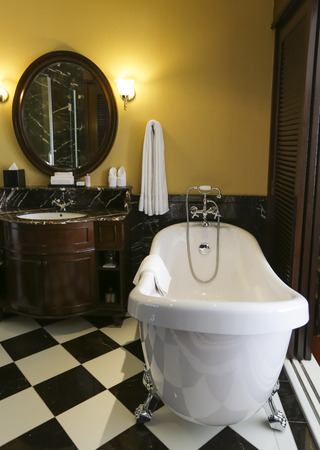 MALACCA, MALAYSIA - MARCH 23, 2017 : Bathroom interior of The Majestic Malacca Hotel. Malacca historical city centre has been listed as a UNESCO World Heritage Site.