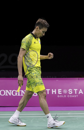 GOLD COAST, AUSTRALIA - APRIL 15, 2018 : Lee Chong Wei of Malaysia reacts while playing against Srikanth Kidambi of India during the men's singles final match Gold Coast 2018 Commonwealth Games.