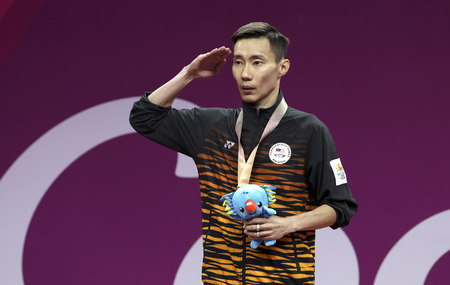 GOLD COAST, AUSTRALIA - APRIL 15, 2018 : Gold medalist Lee Chong Wei of Malaysia in the men's singles during Gold Coast 2018 Commonwealth Games at Carrara Sports and Leisure Centre.