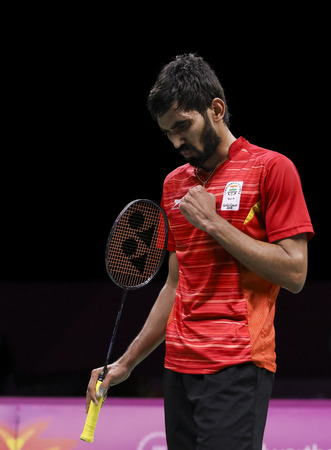 GOLD COAST, AUSTRALIA - APRIL 15, 2018 : Srikanth Kidambi of India reacts while playing against Lee Chong Wei of Malaysia during the men's singles final match Gold Coast 2018 Commonwealth Games.