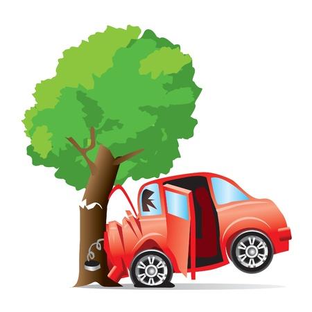 Illustration pour car crashed into tree  - image libre de droit
