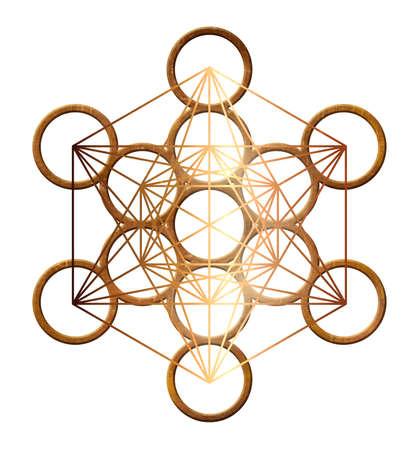 Foto de metatron cube geometry holy gold copper platonic - Imagen libre de derechos