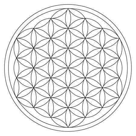 Illustration pour flower of life gold ornament energy cycle - image libre de droit