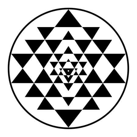 Illustration for sriyantra, shakti, hold, support, geometry, hinduism, tantrism - Royalty Free Image