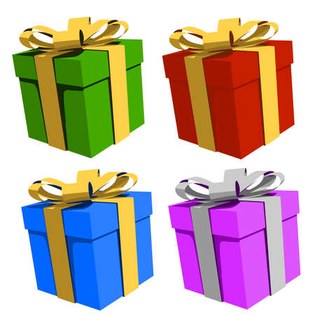 Colorful gift boxes, illustration