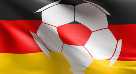 Soccer ball with the German flag, soccer championship concept 3d rendering