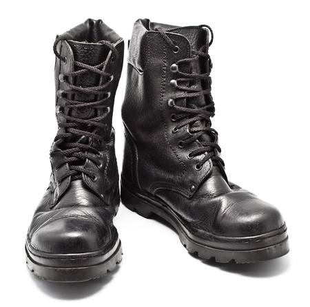 black leather army boots isolated on white