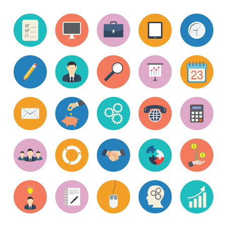 Modern flat icons vector collection in stylish colors of business elements, office equipment and marketing items.