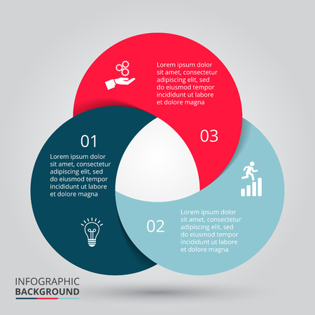 Illustration pour Vector circle element for infographic. Template for cycling diagram, graph, presentation. Business concept with 3 options, parts, steps or processes. Abstract background. - image libre de droit