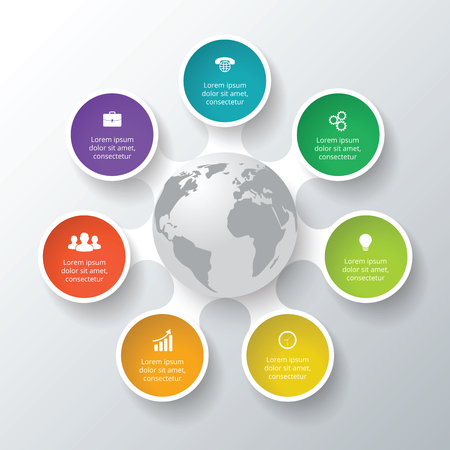 Vector circle elements for infographic. Template for cycle diagram, graph, presentation. Business concept with 7 options, parts, steps or processes. Abstract background