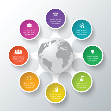 Vector circle elements for infographic. Template for cycle diagram, graph, presentation. Business concept with 8 options, parts, steps or processes. Abstract background
