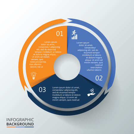 Vector circle infographic. Template for cycle diagram, graph, presentation and round chart. Business concept with 3 options, parts, steps or processes. Data visualization.