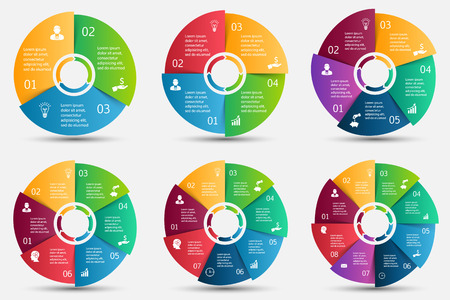 Illustration pour Vector circle element with arrows for infographic. Template for cycle diagram, graph, presentation and round chart. Business concept with 3, 4, 5, 6, 7 and 8 options, parts, steps or processes. - image libre de droit