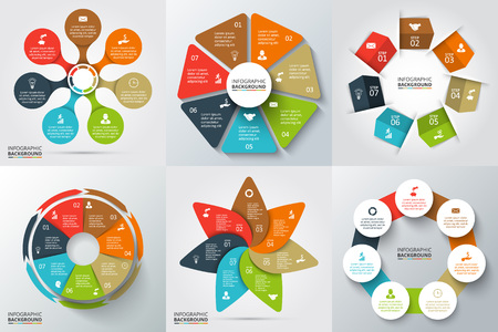 Vector arrows, heptagon, circles and other elements for infographic. Template for cycle diagram, graph, presentation and round chart. Business concept with 7 options, parts, steps or processes.