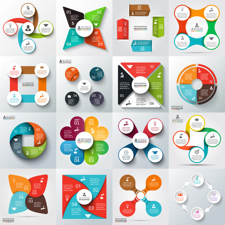 Ilustración de Big set of vector arrows, squares, circles and other elements for infographic. Template for cycle diagram, graph, presentation. Business concept with 4 options, parts, steps or processes. - Imagen libre de derechos