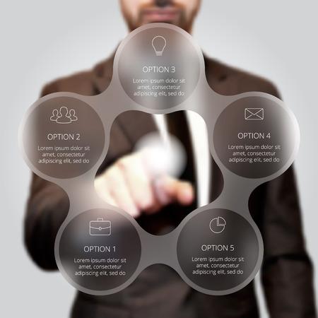 Illustration pour Businessman pressing button on a virtual background. Circle line infographic. Business concept with 5 options, parts, steps or processes. Linear graphic. Blur vector background. - image libre de droit