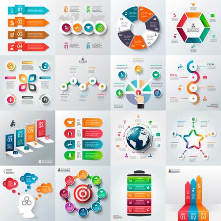 Illustration pour Business infographic template set. Vector illustration. Can be used for workflow layout, banner, diagram, number options, web design, timeline elements - image libre de droit