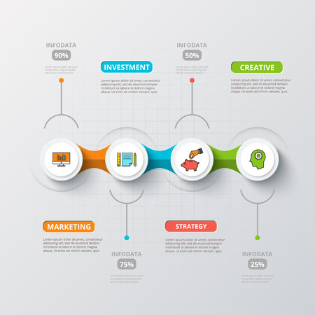 Illustration pour Vector circles for infographic. Template for diagram, graph, presentation and chart. Business concept with 4 options, parts, steps or processes. Abstract background. - image libre de droit