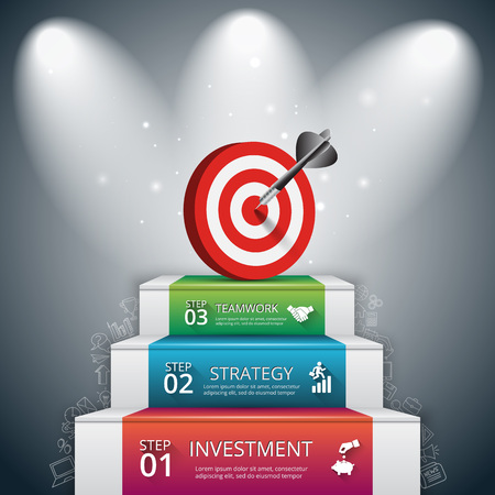 Ilustración de Vector illustration of 3 steps to success with target and dart. Can be used for infographic, banner, diagram, step up options. Doodles icons set. - Imagen libre de derechos