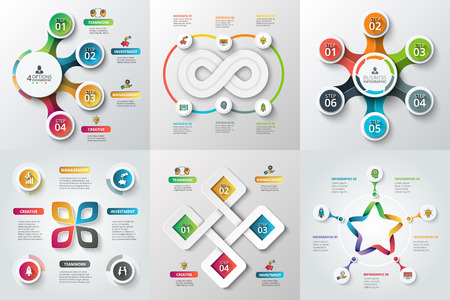Illustration pour Set of star, circles and other elements for infographic. Template for cycle diagram, graph. Business concept with 4, 5 and 6 options, parts, steps. Blur background. - image libre de droit