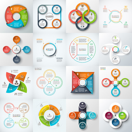 Big set of squares, circles and other elements for infographic. Template for cycle diagram, graph. Business concept with 4 options, parts, steps.