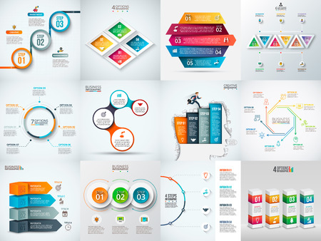 Illustration pour infographic design template. Business concept with 3, 4, 5, 6, 7 and 8 options, parts, steps or processes. Can be used for workflow layout, diagram, number options. Data visualization. - image libre de droit