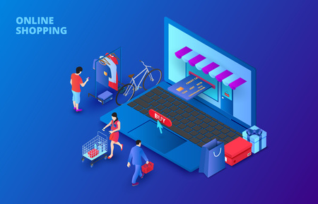 Ilustración de Dark isometric online shopping concept with laptop, people and credit card. Landing page template. - Imagen libre de derechos
