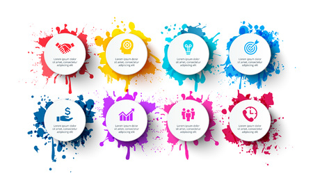 Illustration for Vector white circles with splashes of paints. Infographic templates with 8 options - Royalty Free Image