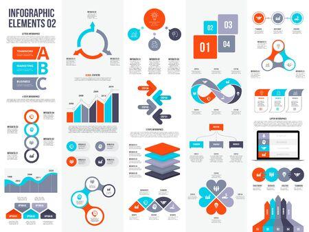 Illustration pour Big set of infographic elements. Can be used for steps, business processes, workflow, diagram, flowchart concept and timeline. Data visualization vector design template. - image libre de droit